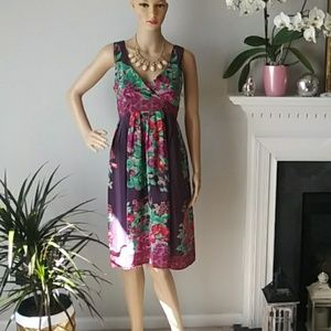 Plenty by tracyreese purple floral midi dress silk